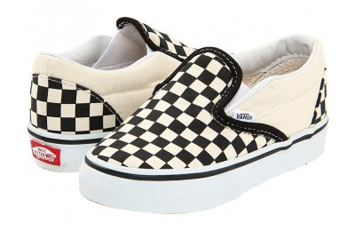 [ Black Friday 2019 ] Vans Kids Classic Slip-On Core (Toddler) Black and White Checker/White