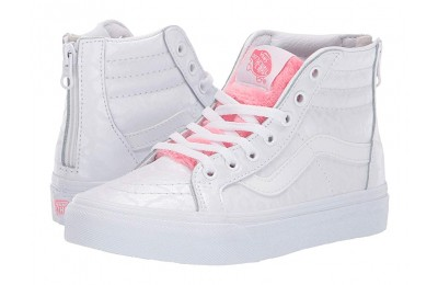 [ Black Friday 2019 ] Vans Kids Sk8-Hi Zip (Little Kid/Big Kid) (White Giraffe) True White/Strawberry Pink