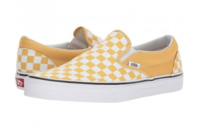 [ Hot Deals ] Vans Classic Slip-On™ (Checkerboard) Ochre/True White