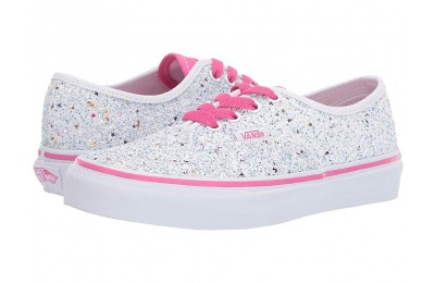 Vans Kids Authentic (Little Kid/Big Kid) (Glitter Stars) True White/Carmine Rose