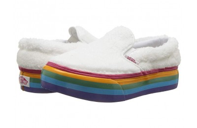 Vans Kids Classic Slip-On Platform (Little Kid/Big Kid) (Shearling Rainbow) True White