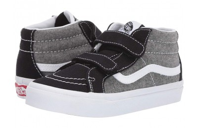 Buy Vans Kids SK8-Mid Reissue V (Little Kid/Big Kid) (Chambray) Canvas Black/True White