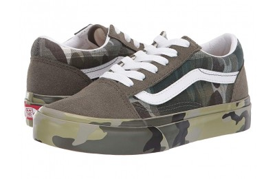 Vans Kids Old Skool (Little Kid/Big Kid) (Plaid Camo) Grape Leaf/True White Black Friday Sale