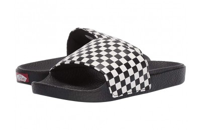 Vans Kids Slide-On (Little Kid/Big Kid) (Checkerboard) White Black Friday Sale