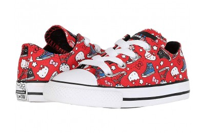 [ Hot Deals ] Converse Kids Hello Kitty® Chuck Taylor® All Star® Ox (Infant/Toddler) Fiery Red/Black/White