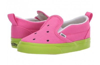 Vans Kids Slip-On V (Toddler) (Watermelon) Carmine Rose/Lime Green