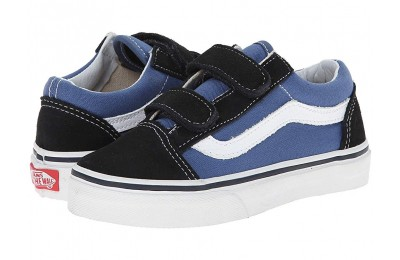 Christmas Deals 2019 - Vans Kids Old Skool V (Little Kid/Big Kid) Navy/True White