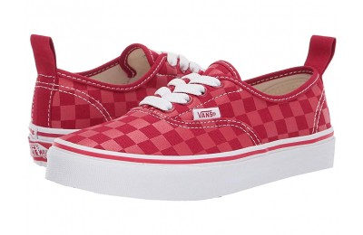 Vans Kids Authentic Elastic Lace (Little Kid/Big Kid) (Checkerboard) Tango Red
