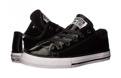 Black Friday Converse Kids Chuck Taylor All Star Patent - Ox (Little Kid/Big Kid) Black/Black/White Sale