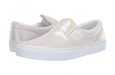 [ Black Friday 2019 ] Vans Kids Classic Slip-On (Little Kid/Big Kid) (Metallic Oil Slick) True White/Turtledove