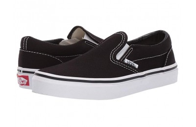 Vans Kids Classic Slip-On (Little Kid/Big Kid) Black/True White Black Friday Sale