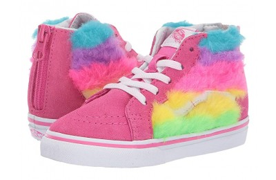 [ Hot Deals ] Vans Kids Sk8-Hi Zip (Toddler) (Rainbow Fur) Carmine Rose/True White