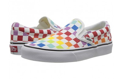Vans Classic Slip-On™ (Checkerboard) Rainbow/True White Black Friday Sale