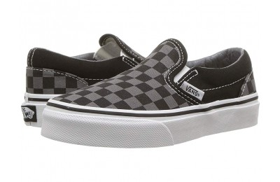 [ Hot Deals ] Vans Kids Classic Slip-On (Little Kid/Big Kid) (Checkerboard) Black/Pewter