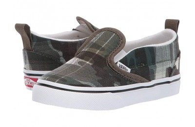 [ Hot Deals ] Vans Kids Slip-On V (Toddler) (Plaid Camo) Grape Leaf/True White