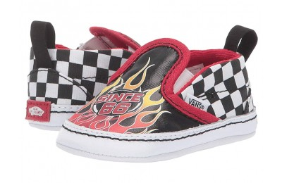 [ Hot Deals ] Vans Kids Slip-On V Crib (Infant/Toddler) (Race Flame) Black/True White