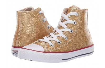 Hot Sale Converse Kids Chuck Taylor All Star Sparkle - Hi (Little Kid/Big Kid) Gold/Enamel Red/White