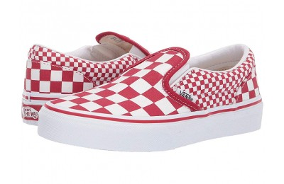 Vans Kids Classic Slip-On (Little Kid/Big Kid) (Mix Checker) Chili Pepper/True White