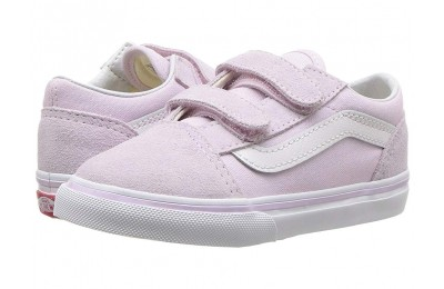 [ Hot Deals ] Vans Kids Old Skool V (Infant/Toddler) Lavender Fog/True White