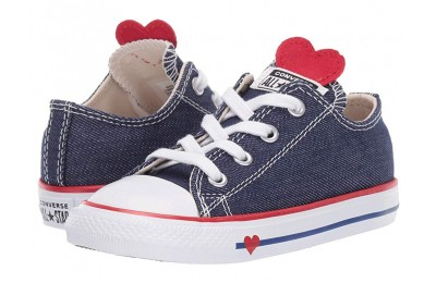 Converse Kids Chuck Taylor All Star Denim Love - Ox (Infant/Toddler) Navy/Enamel Red/Blue