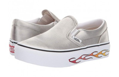 [ Hot Deals ] Vans Kids Classic Slip-On Platform (Little Kid/Big Kid) (Sidewall Flame) Metallic Silver