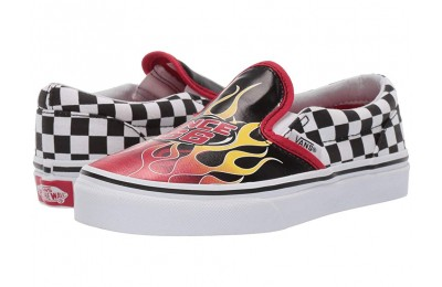 Vans Kids Classic Slip-On (Little Kid/Big Kid) (Race Flame) Black/Racing Red/True White Black Friday Sale