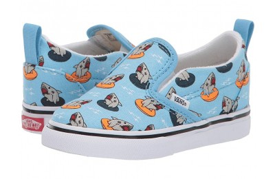 Vans Kids Slip-On V (Toddler) (Floatie Sharks) Sailor Blue/True White Black Friday Sale