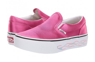 [ Hot Deals ] Vans Kids Classic Slip-On Platform (Little Kid/Big Kid) (Sidewall Flame) Carmine Rose
