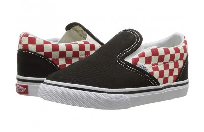 Vans Kids Classic Slip-On (Toddler) (Checkerboard) Black/Red