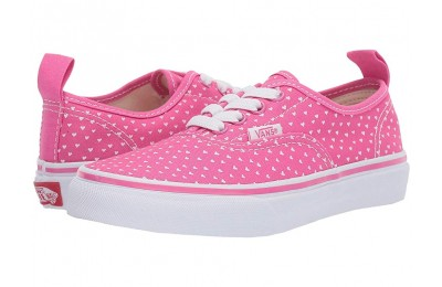 Vans Kids Authentic Elastic Lace (Little Kid/Big Kid) (Hand Drawn Hearts) Carmine Rose/True White Black Friday Sale