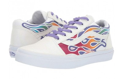 Vans Kids Old Skool (Little Kid/Big Kid) (Sparkle Flame) Rainbow/True White