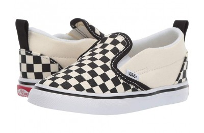 Vans Kids Slip-On V (Infant/Toddler) (Checkerboard) Black/White Black Friday Sale