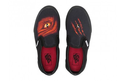 [ Hot Deals ] Vans Kids Classic Slip-On (Little Kid/Big Kid) (Dragon Flame) Black/Black