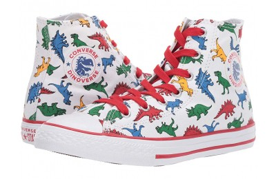 Black Friday Converse Kids Chuck Taylor All Star(r) Dinoverse - Hi (Little Kid/Big Kid) White/Enamel Red/Totally Blue Sale