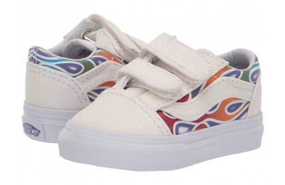 Vans Kids Old Skool V (Infant/Toddler) (Sparkle Flame) Rainbow/True White