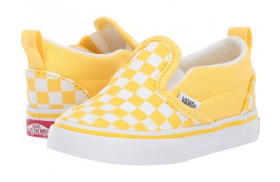 Vans Kids Slip-On V (Toddler) (Checkerboard) Aspen Gold/True White Black Friday Sale