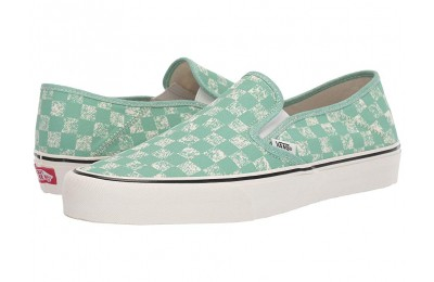 Vans Slip-On SF (Distressed Checkerboard) Neptune Green Black Friday Sale