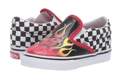 Christmas Deals 2019 - Vans Kids Classic Slip-On (Infant/Toddler) (Race Flame) Black/Racing Red/True White