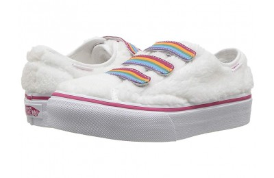 [ Hot Deals ] Vans Kids Style 23 V (Little Kid/Big Kid) (Shearling Rainbow) True White