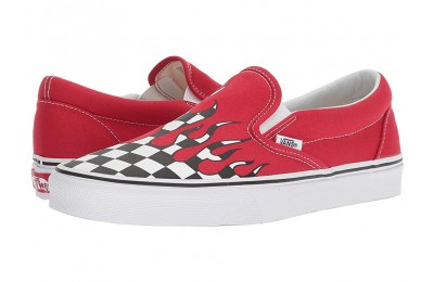 [ Hot Deals ] Vans Classic Slip-On™ (Checker Flame) Racing Red/True White