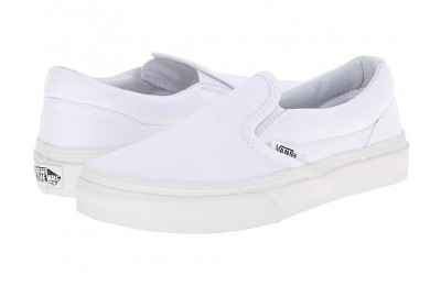 Vans Kids Classic Slip-On (Little Kid/Big Kid) True White Black Friday Sale