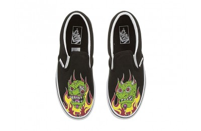Vans Kids Classic Slip-On (Little Kid/Big Kid) (Demon Trolls) Black/True White Black Friday Sale