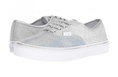 Vans Kids Authentic (Little Kid/Big Kid) (Metallic Glitter) Silver Black Friday Sale