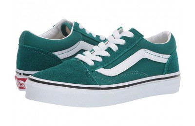 [ Black Friday 2019 ] Vans Kids Old Skool (Little Kid/Big Kid) Quetzal Green/True White