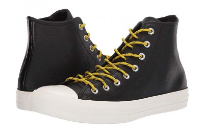 Hot Sale Converse Chuck Taylor® All Star® Limo Leather Hi Black/Bold Citron/Egret