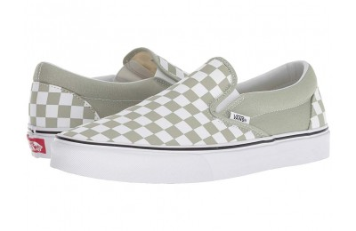 [ Hot Deals ] Vans Classic Slip-On™ (Checkerboard) Desert Sage/True White