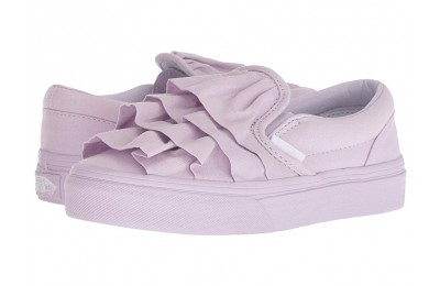 [ Black Friday 2019 ] Vans Kids Classic Slip-On (Little Kid/Big Kid) (Ruffle) Lavender Fog