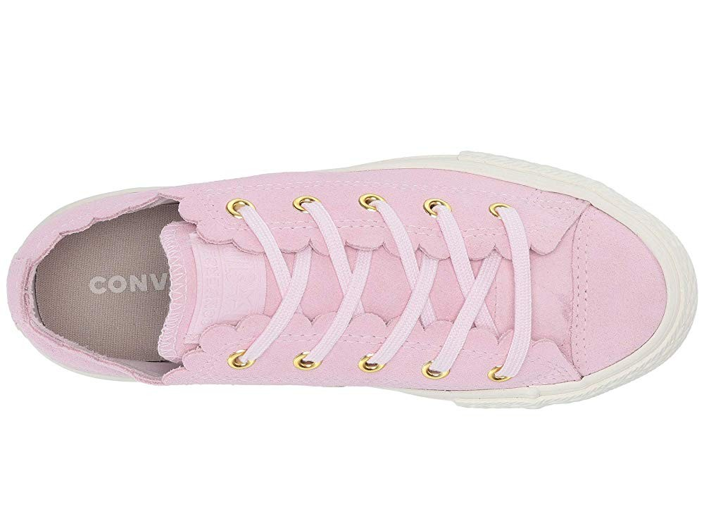 [ Hot Deals ] Converse Kids Chuck Taylor® All Star® Scalloped Suede - Ox (Little Kid) Pink Foam/Pink Foam/Brasss