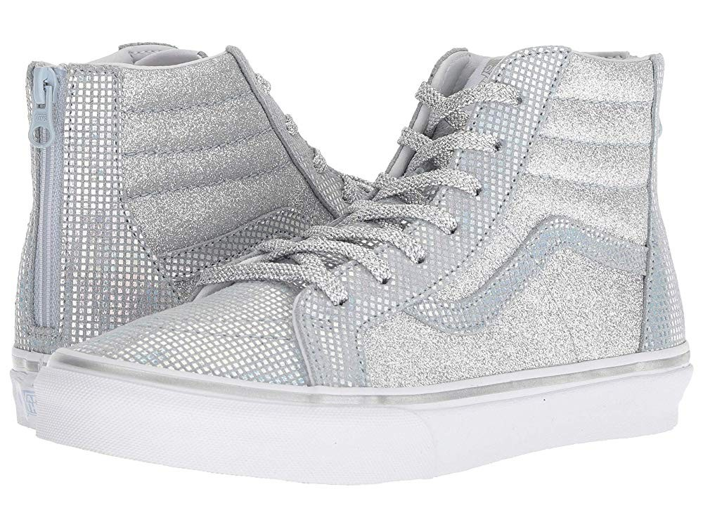 [ Hot Deals ] Vans Kids Sk8-Hi Zip (Little Kid/Big Kid) (Metallic Glitter) Silver