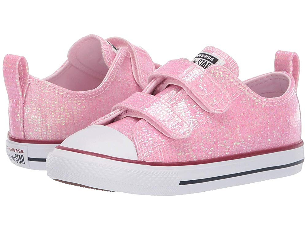 [ Hot Deals ] Converse Kids Chuck Taylor All Star 2V Sparkle - Ox (Infant/Toddler) Pink Foam/Enamel Red/White